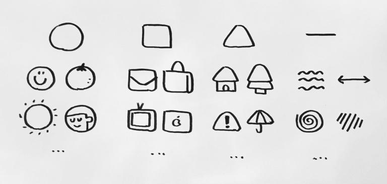 由最基本的几何图形 圆形、矩形、三角形、线条发展而来的图形