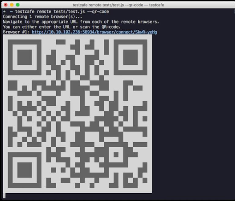 TestCafe将二维码输出到控制台