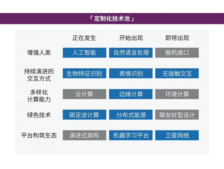 定制化技术池示例,灰色技术框为在评估过程中被筛选掉的技术